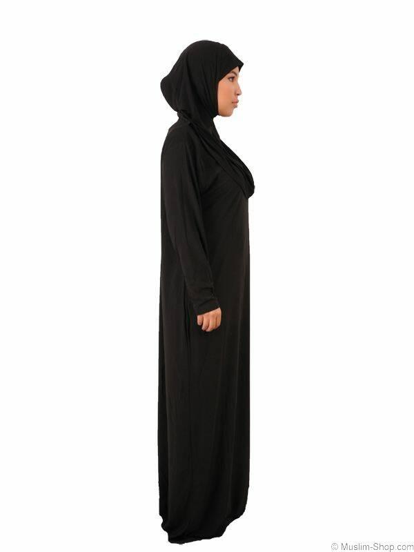 abaya gebetskleidung 1tlg mit angen htem hijab schwarz 19 90. Black Bedroom Furniture Sets. Home Design Ideas