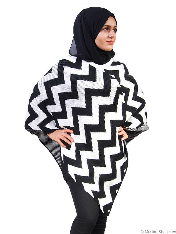 poncho schwarz weiss muster 12 90 muslim shop gro e auswah. Black Bedroom Furniture Sets. Home Design Ideas