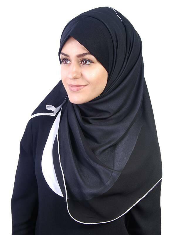 kuwaity wendehijab schwarz weiss 11 90 muslim shop gro e. Black Bedroom Furniture Sets. Home Design Ideas
