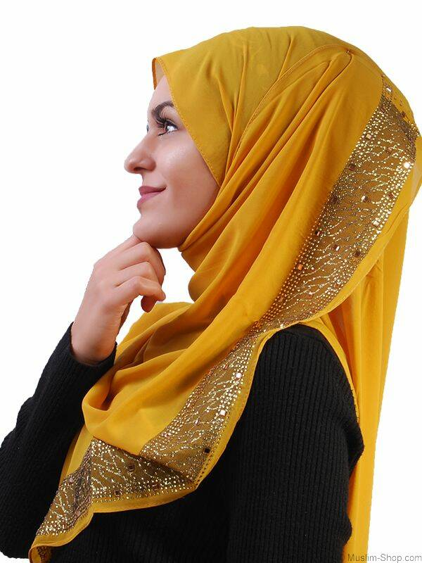 schal mit gold glitzer senfgelb 7 90 muslim shop gro e a. Black Bedroom Furniture Sets. Home Design Ideas