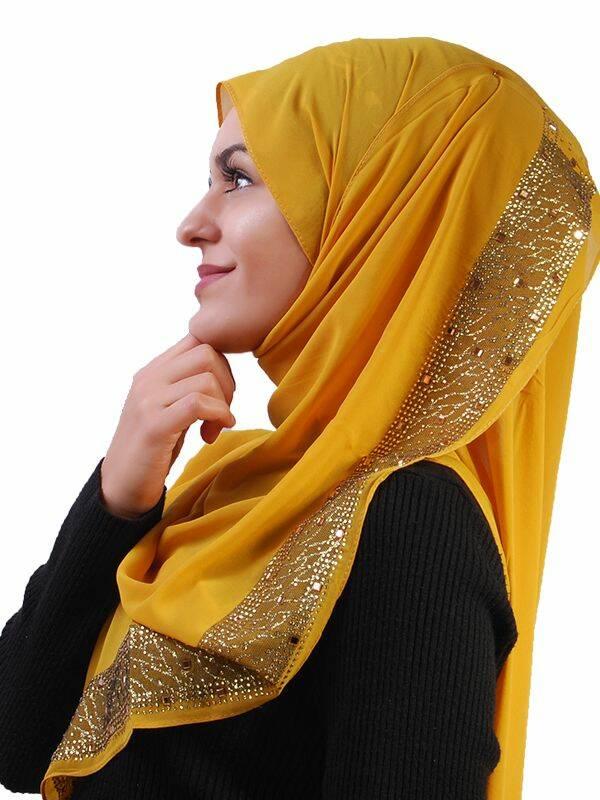 schal mit gold glitzer senfgelb 7 90 muslim shop gro e au. Black Bedroom Furniture Sets. Home Design Ideas