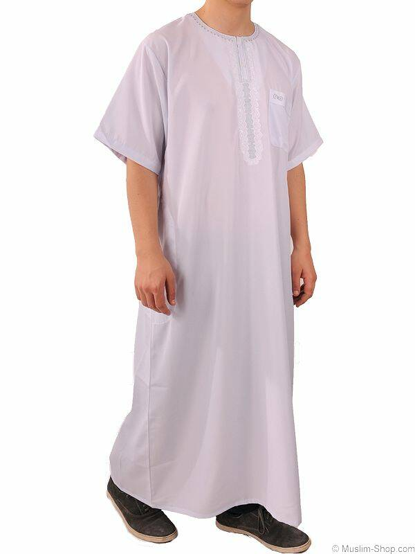 Mens Short Sleeve-Qamis white L