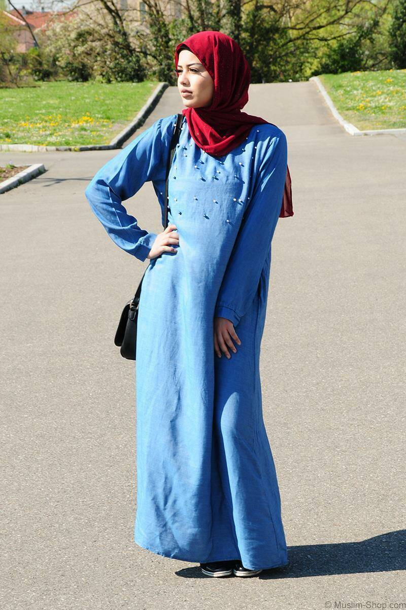 Denim abaya with pearl details medium washing 2XL